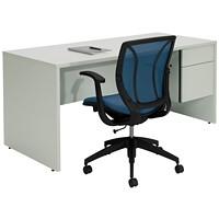 Global Genoa Grey Single-Pedestal Desk