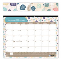 Blueline Begonia Monthly Desk Pad Calendar, 22