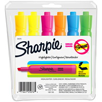 Sharpie Accent Tank-Style Highlighter, Assorted Colours, Chisel Tip, 6/PK