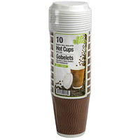 Café Express Double Wall Insulated Ripple Hot Cups With Lids, 8 oz, 10/PK