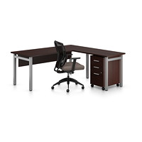 Offices To Go Ionic L-Shaped Suite, Dark Espresso
