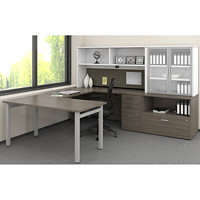 Ensemble de bureau en U de 72 po Ionic Offices to Go acajou absolu