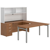 Ensemble de bureau en U de 72 po Ionic Offices to Go  cerisier d'hiver