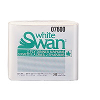White Swan 2-Ply 1/8 Fold Dinner Napkins, White, 200 Sheets/PK, 12/CS