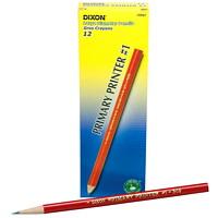 Dixon Primary Printer #1 Thick Black Lead Pencils, Pre-sharpened, Red Barrel, Primary Size 13/32
