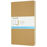 Cahier journal Moleskine, kraft avec papier ivoire à grille de pointillés, 51/2po x 81/4po, bilingue, emb. de 3