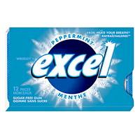 Gomme sans sucre à la menthe Excel Wrigley's, paquets de 12, boîte de 12