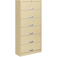 HON Brigade 600 Series 6-Shelf Filing Cabinet with Locking Receding Doors, Putty, Letter Size, 36