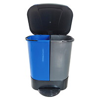 Globe Commercial Products Step-On 2-Stream Waste/Recycle Container, Blue/Black/Grey, 26 L