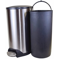 Globe Commercial Products Step-On Waste Container, Stainless-Steel, With Soft Close Lid, 10 L
