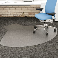 Deflecto SuperMat Studded-Back Chairmat for Medium Pile Carpet, L-Workstation with Lip, Clear, 60