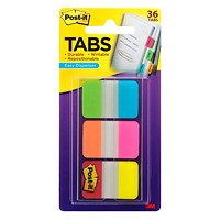 Post-it Durable Tabs, Aqua/Yellow/Pink/Red/Green/Orange, 1