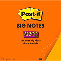 Grands feuillets super collants Post-it, orange, 11 po x 11 po, bloc de 30 feuillets