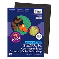 Papier de bricolage à haut grammage SunWorks Pacon, noir, 9po x 12po, emb. de 50