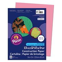 Papier de bricolage à haut grammage SunWorks Pacon, rose, 9po x 12po, emb. de 50