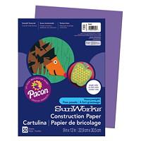 Papier de bricolage à haut grammage SunWorks Pacon, violet, 9po x 12po, emb. de 50