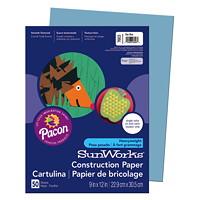 Papier de bricolage à haut grammage SunWorks Pacon, bleu pâle, 9po x 12po, emb. de 50