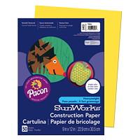 Papier de bricolage à haut grammage SunWorks Pacon, jaune, 9po x 12po, emb. de 50