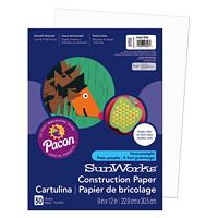 Papier de bricolage à haut grammage SunWorks Pacon, blanc, 9po x 12po, emb. de 50