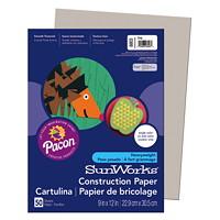 Papier de bricolage à haut grammage SunWorks Pacon, gris pâle, 9po x 12po, emb. de 50