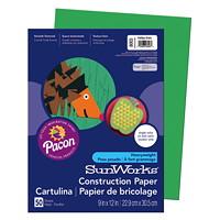 Papier de bricolage à haut grammage SunWorks Pacon, vert émeraude, 9po x 12po, emb. de 50
