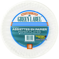 Assiettes blanches recyclables en papier de 9 po Green Label, emballage de 40