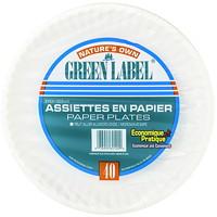 Assiettes blanches recyclables en papier de 9po Green Label, emballage de 40