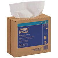 Tork 1-Ply Paper Wiper Plus, Pop-Up Box, White, 100 Sheets/BX, 8/CT