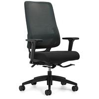 Global Sora High-Back Synchro-Tilter Chair, Black, Fabric Seat/Mesh Back