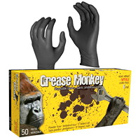 Grease Monkey Disposable Nitrile Gloves, 8 Mil, Large, Black, 50/BX