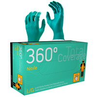 Watson Gloves 360° Total Coverage Disposable Nitrile Gloves, 5 Mil, Large, Teal, 100/BX
