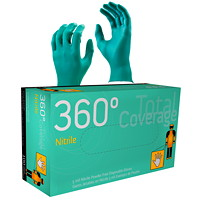 Gants en nitrile jetables 360° Total Coverage Watson Gloves, 5 mils, TG, sarcelle, boîte de 100