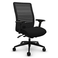 Global Loover Mid-Back Mesh-Back Weight Sensing Synchro-Tilter Chair, Echo Black, Terrace Fabric
