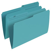 Grand & Toy Coloured File Folders, Teal, Legal-Size, 100/BX