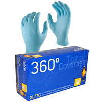 360° Total Cover Disposable Nitrile Gloves, 5 Mil, X-Large, Blue, 100/BX