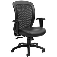Global Centre-Tilt Chair, Mid-Back, Black, Leather/Mesh