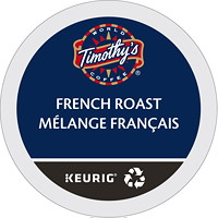 Timothy's Single-Serve Coffee K-Cup Pods, French Roast, 24/BX