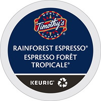 Timothy's Single-Serve Coffee K-Cup Pods, Rainforest Espresso, 24/BX
