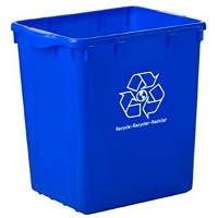 Globe Commercial Products Curbside Recycling Bin, Blue, 22-Gallon Capacity