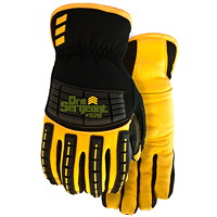 Drill Sergeant Work Armour Full-Grain Deerskin Leather Gloves, Large, Black/Yellow