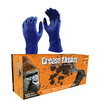 Grease Monkey Disposable Natural Rubber Gloves, 15 Mil, Blue, Large, 50/BX