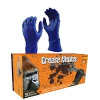 Gants en caoutchouc naturel jetables Grease Monkey, 15 mils, bleu, TTG, boîte de 50