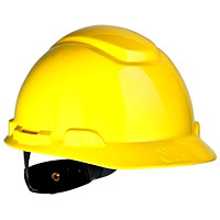 3M H-702R Hard Hat, 4-Point Ratchet Suspension, Unvented, Yellow