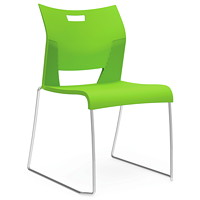 Global Duet Armless Stacking Chairs - Set of 2, Cactus Green