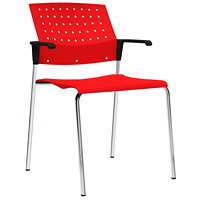 Global Sonic Stacking Chairs - Set of 2, With Armrests, Scarlet Red