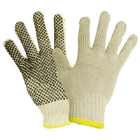 Ronco Poly/Cotton String Knit Gloves with PVC Dots (1 Side), Medium, 12/PK