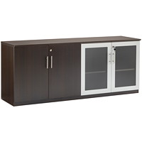 Safco Medina Low Wall Cabinet With Doors, Mocha, 72