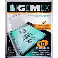 Pochettes protectrices en polypropylène à insertion par le haut Gemex, épaisseur standard, antireflet, format lettre, emb. de 10