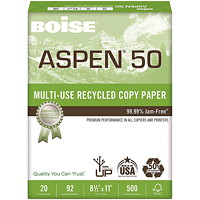 Boise Aspen 50 Multi-Use Recycled Copy Paper, FSC Certified, White, 20 lb., 8 1/2