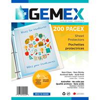 Pochettes protectrices en polypropylène à insertion par le haut Gemex, épaisseur standard, antireflet, format lettre, boîte de 200